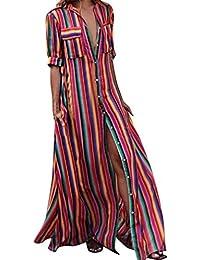 c4ad94209b797 Robe FantaisieZ Femmes Demi Manches Rayé Multicolore Bouton Lâche Bohe  Plage Robe Longue Robe Jupe Droite