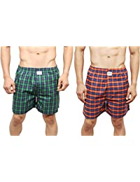 NeskaModa Men's Premium Pack Of 2 Elasticated Cotton Multicolor Boxers With 1 Back Pocket-XB69&XB73