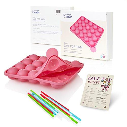 Lumaland Cuisine Silikon CakePop Backform für bis zu 20 Cakepops oder Stielkuchen, inklusive 40 Cake Pop Stiele ca. 22,5 x 18,5 x 4,5 cm, hitzebeständig bis 260° C rosa -