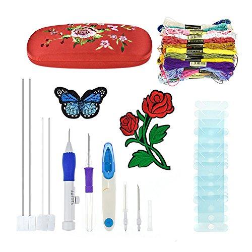 Pure besi Broderie Pen Kit Galopar Magie Broderie Pen Set Stick Machines Punch Aiguille Kit Tricot nähwerkzeuge pour broderie DIY Threader Couture, rouge