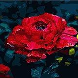 Fleur Peinture à l'huile décoration Rouge Rose 40 * 50 (sans Cadre) Contactez Le...