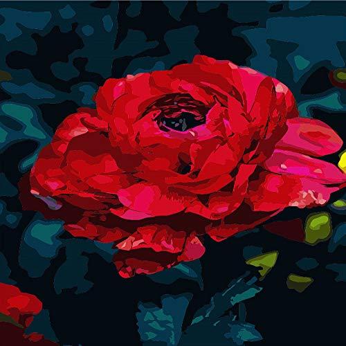 zlhcich Blumenölgemäldedekorationsrotrose 40 * 50 (Rahmenlos) treten mit Kundendienst in...
