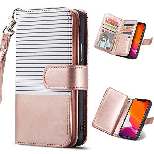 Nadoli Galaxy S10 Hülle Handyhülle,Lederhülle Magnetverschluss 9 Kartenfächern Reißverschluss Cover Brieftasche Flip Wallet Cover für Samsung Galaxy S10,Weiß Roségold