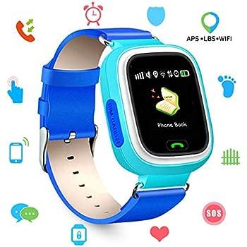 Niños SmartWatch Telefono, GPS LBS WiFi Actividad Tracker Pantalla táctil Inteligente Relojes con Chat SOS Llamar Compatible para iPhone Android (Q90 Azul)