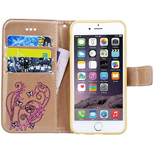 SMART LEGEND Lederhülle für iPhone 6S/iPhone 6 Ledertasche Hülle Gold Drucken Weinstock Schmetterling Muster Schutzhülle Premium PU Leder mit Handschlaufe Flip Case Protective Cover Innere Weiche Sili Gold