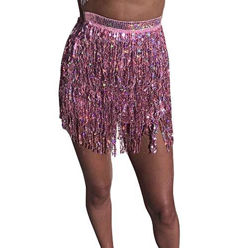 Bauchtänzerin Kostüm Rosa - Zarupeng Frauen Pailletten Quaste Wickelrock Low Taille Bodycon Tanzrock Bauchtänzerin Kostüm Party Club Minirock