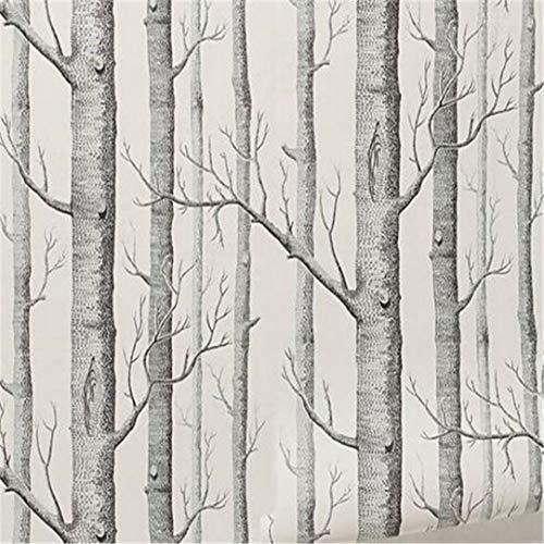 3D Große Benutzerdefinierte Wallpaper [] - Schwarz Und Weiß Modernes Design Birke Baum Tapete Schlafzimmer Wohnzimmer Rolltapete Antike Wald Wald Tapete, 200 * 140Cm -