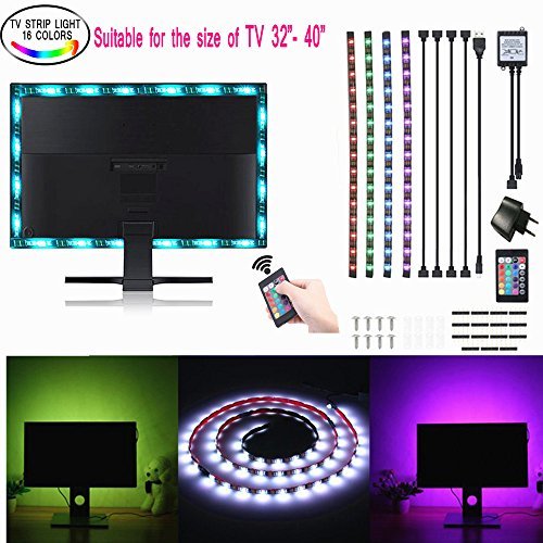SOLMORE 4x 50cm Streifen flexibel 5050LED Streifen LED RGB Strip LED Wasserdicht Fernbedienung von 24Beleuchtung für TV/Party/Aquarium/Aufbau/Wand/Esszimmer/Maßstab/Bad 1