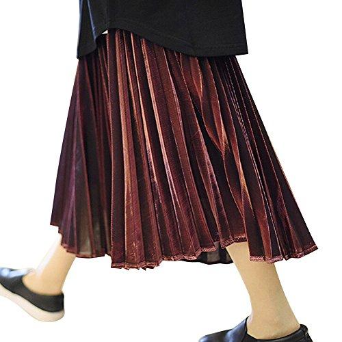 hibote Femmes jupe plissée Vin rouge