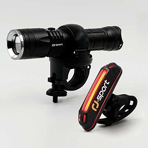 RJ-Sport Fahrradlicht USB Wiederaufladbare Fahrradbeleuchtung Fahrradlampen Set, Superhelle 300 Lumen Fahrrad Frontlicht & LED Rücklicht, Spritzwassergeschützt und Einfache Montage für Sicheres Radfahren