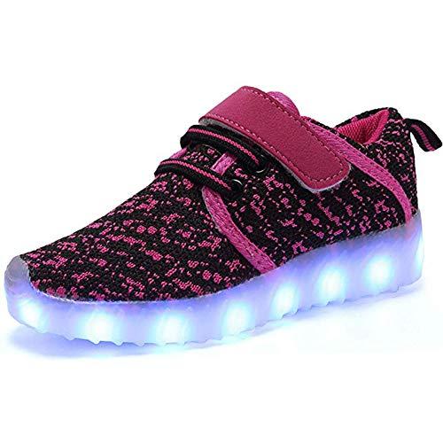 ByBetty Unisex Niños Zapatillas LED USB Carga para los Niños y los Adolescentes 5 Colores