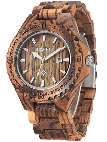 Alienwork Quarz Armbanduhr massive Naturholz Uhr Herren Uhren handgefertigt modisch Zebraholz Holz braun UM023A-02