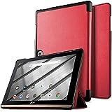 IVSO Hülle für Acer Iconia One 10 B3-A50, Slim zubehör Schutzhülle Hochwertiges PU Leder für Acer Iconia One 10 B3-A50 10 Zoll 2018 (Nicht für Acer Iconia One 10 B3-A40), Rot