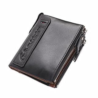 Men Wallet, ANGGO Men Genuine Leather Wallet Vintage Bifold with Double Zipper Purse Short Wallet for Men Boys (Black)
