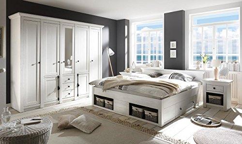 lifestyle4living Schlafzimmer, Schlafzimmermöbel, Set, Komplettset, Schlafzimmereinrichtung, Komplettangebot, Landhausstil, Weiß, Weiss, Pinie, 4-TLG.