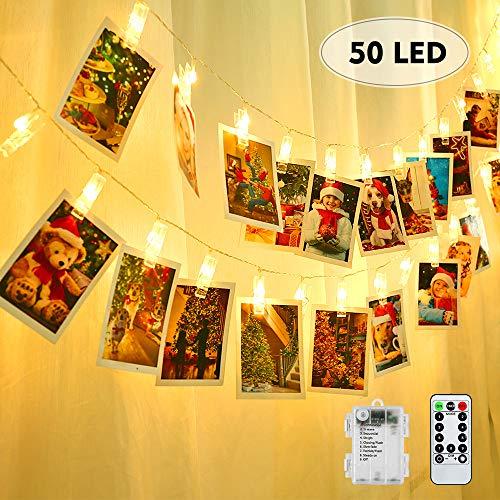 BrizLabs LED Fotoclips Lichterkette für Zimmer, 50 LED Foto Clip Lichter 8 Modi Wasserdicht Batteriebetrieben mit Fernbedienung Bilderrahmen Deko für Innen, Haus, Weihnachten, Hochzeit, Schlafzimmer