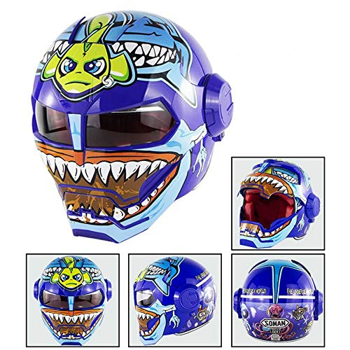 DYM258 Casco Moto Motocross Flip Up Maschera Aperta Casco D.O.T Casco Moto Integrale Certificato, Iron Man Transformers- M, L, XL, Blue Fish Monster,XL61∽62CM