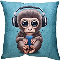 Viahwyt Cushion Cover Couch Super Kawaii Animal Print Cushion Covers 45cm x 45cm Square Pillow Case For Sofa Bed Car Restaurant Home Decor New Home Gifts For Kids (Monkey)