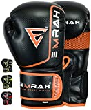 EMRAH ESV-300 Guantes de Boxeo Muay Thai Training DX Hide Leather Sparring Sacos de Boxeo Mitones Kickboxing Lucha (Naranja, 10 oz)