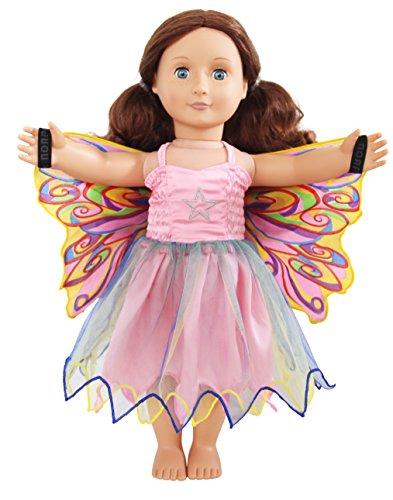 29 Doll Dress, Fairy Rainbow, Regenbogenfee, Puppenkleidchen mit Flügeln für 18