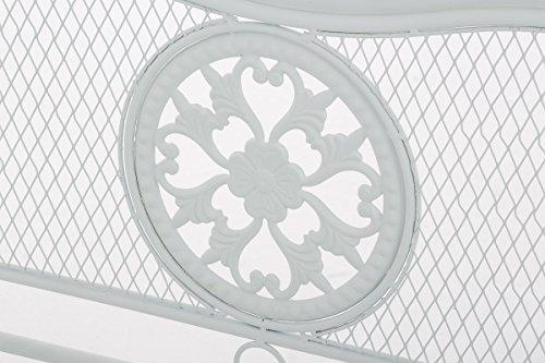 CLP Gartenbank RIKE im Landhausstil, aus lackiertem Eisen, 136 x 59 cm – aus bis zu 6 Farben wählen Weiß - 5