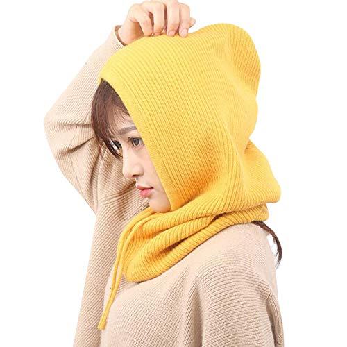 (VRTUR Baggy Winter Warm Hüte Häkeln Hut-Schal integrierte Kopfbedeckung Lätzchen Strickmütze Kappen Unisex Mütze)