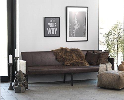 Canett Furniture Annabella Sofa 4 Sitzer Modern, Stoff, Schwarz Beine/Gebeizt/ Couch Dunkelbraun/Mikrofaser, 240 x 67 x 85 cm