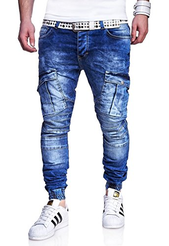 MT Styles Cargo Jogging-Jeans pantalon homme RJ-3190 Bleu