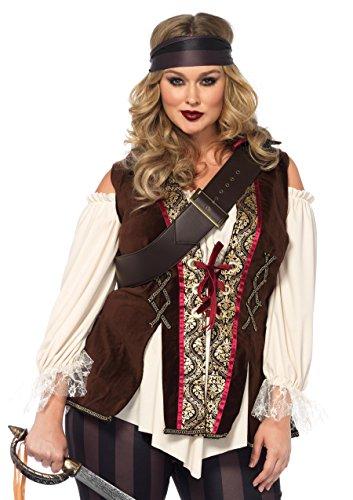 Leg Avenue Damen Captain Blackheart Piratin Kostüm Übergröße XL-XXL (Paare Übergröße Kostüm)