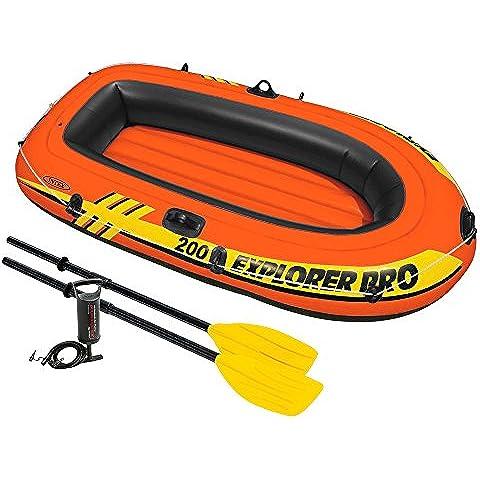 Intex 58357 - Explorer Pro 200 con Remi, 196 x 102 x 33 cm, Arancione/Nero/Giallo - Explorer 200 Barche