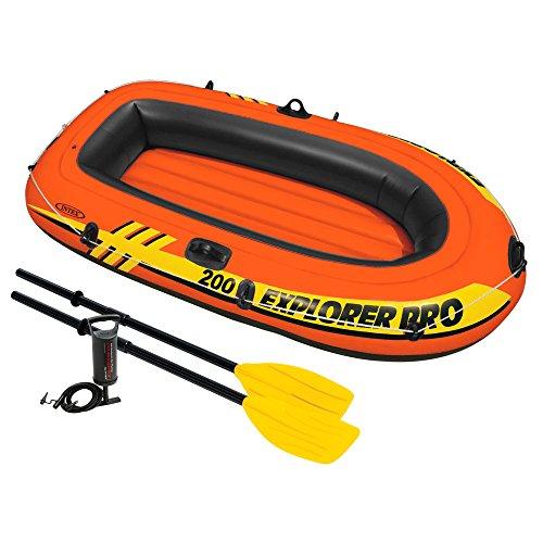 Intex canotto explorer pro 200 set remi, colore arancione/nero/giallo, 196 x 102 x 33 cm, 58357