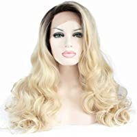 Dall  aspetto naturale Dark Roots synthetic Glueless donna Hair Body Wave  ombre Blonde Lace Front parrucca capelli. d658fb7c4488