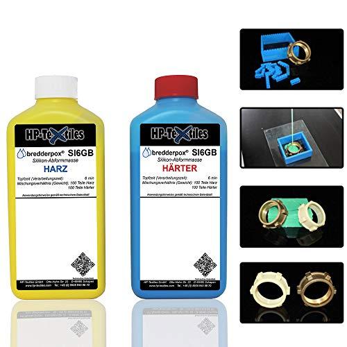 Abform-Silikon Kautschuk zum Gießen 1kg | Für einen detailgetreuen Abdruck im Formenbau, Modellbau, Bastelarbeiten | Hautfreundlich Flüssigsilikon Zwei-Komponenten Dubliersilikon Abformmasse | SI6GB (Formenbau-silikon)
