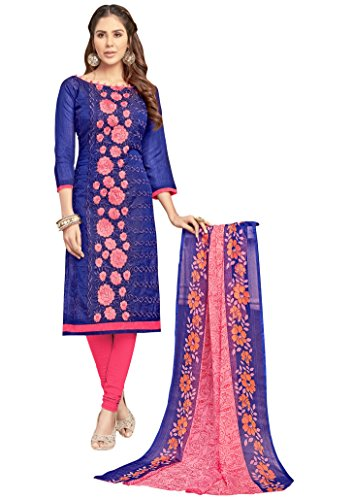 Salwar Suits For Woman(Kimisha Blue Chanderi Embroidered Straight Unstitched Dress Material_GNGSGNR1007_Pink_Freesize_Salwar Suit...