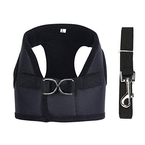 Contever® Verstellbar Rückseite Clip Harness Hundegeschirr Welpengeschirr Softgeschirr Brustgeschirr Halsbänder mit Leine (L: Brustumfang 34-38cm)-Schwarz
