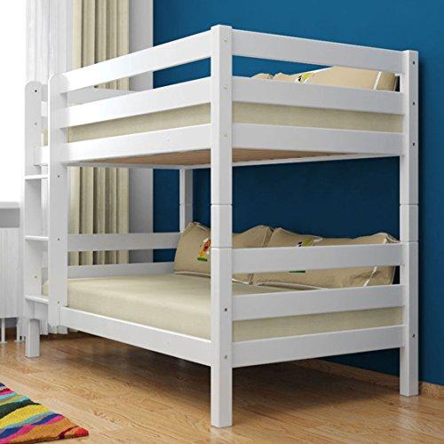 Etagenbett Stockbett Doppelastockbett RICKY inkl. 2 Roll-Lattenroste Buche Massivholz 90x200 Weiß lackiert. (Etagenbett Massivholz)