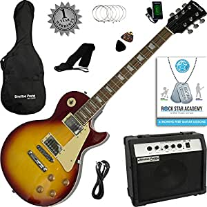 Stretton Payne LP Electric Guitar with practice amplifier, padded bag, strap, lead, plectrum, tuner, spare strings. Guitar in Tobacco Burst