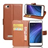 Xiaomi Redmi 4A Handyhülle Book Case Xiaomi Redmi 4A Hülle Klapphülle Tasche im Retro Wallet Design mit Praktischer Aufstellfunktion - Etui Braun