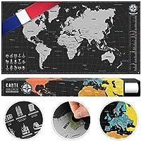 #benehacks Carte du Monde à gratter Poster Mural en GAULOIS - Décoration carnet de Voyage Aventures avec cartographie détaillée - Noir/Argent - 84 x 44 cm