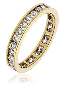 1CT Certified G/VS2 Round Brilliant Cut Channel Set Full Eternity Diamond Ring in 18K Yellow Gold