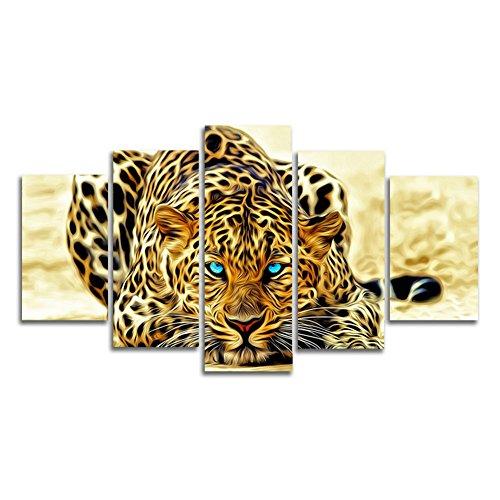HtpAr 5 pezzi astratta Leopards Casa moderna della parete della decorazione della tela di canapa Arte HD Stampa pittura Set di 5 ogni tela Arts Senza cornice htp02 50 Pollici x30 Pollici