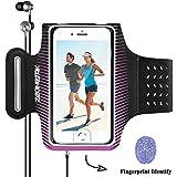 Zeonetak Sport Armband Fitness Schweißfest Wasserresistente für Samsung S8 Plus \ S8 \ C7 Pro \ S7 \ S8 + \ Note 8 \ C9 Pro \ S7 Edge, iPhone X \ 8 \ 7 \ 6 \ 6s, Google Pixel mit Fingerabdruck entsperren, einstellbare reflektierende Workout Band, enthalten eine Tasche von Schlüssel und Karten, mit Löchern Breathable Elastic Bands, weiches Gewebe (Lila + Schwarz)