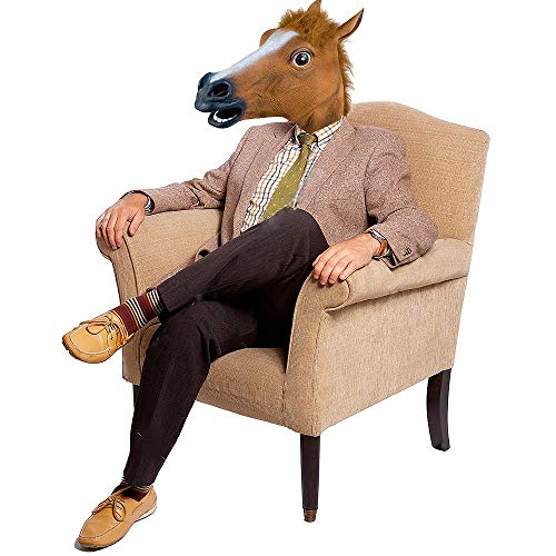Homened Pferdekopf-Maske Deluxe für Halloween-Kostüm, Party, Latex-Maske für Erwachsene (Ich Halloween Kostüm Party)