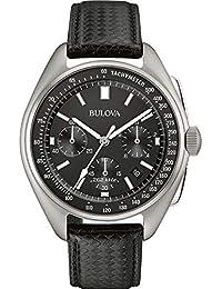 Bulova Men's Designer Watch Leather Strap - Black Lunar Pilot Wrist Watch 96B251
