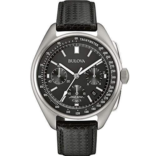 bulova lunar pilot pilota lunare 96b251 - orologio design con cinturino in pelle - uomo - nero