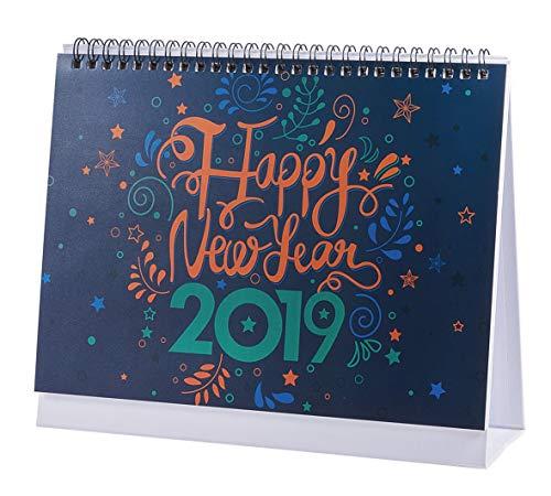 Tischkalender 2018-2019: Monatlicher Tischkalender, läuft von Januar 2019 bis Dezember 2019, 9,25 x 7,85 Zoll - Happy New Year
