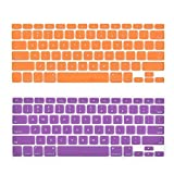 i-Buy 2PCS Silicone Keyboard Cover Film for Macbook Air 13 and Pro 13 / 15 inch(Befor 2016.10)[US Layout]- Orange & Purple