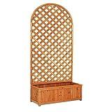Pannello a Arco con Fioriera in Legno decorazione recinzione divisorio giardino balcone 90x180 cm EV