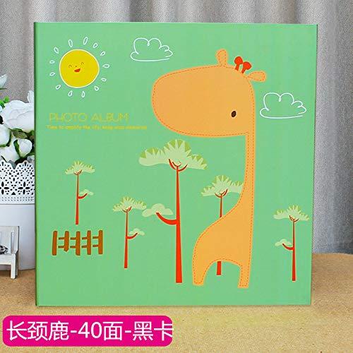 nfotoalbum Heiratsurkunde Sammelbox Album Paste Album DIY Selbstklebende Filmalbum Babyalbum Kinder Rekordwachstum manuelle 12 Zoll, Fluoreszierende grüne Giraffe Schwarze Kart ()