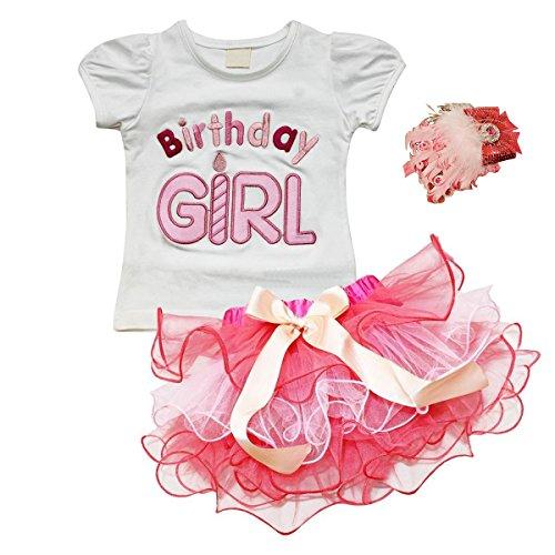 Birthday Girl Partys Verkleiden Fancy Dress Kopfbedeckungen für Baby Kinder Kleinkind Mädchen Bekleidung Set T-Shirt Tütü Rock Geburtstag (Girl Best Kostüme)